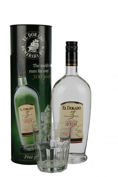 El Dorado 3YO Rum + Glas 0,7 Liter 40%