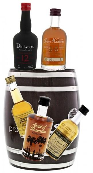 Rum Probierfass inkl. 5 x 0,05 Liter original Rum Miniaturen