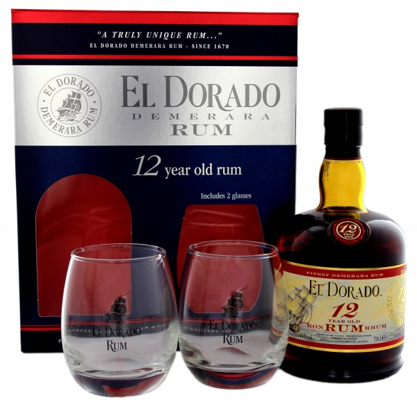 El Dorado 12YO Geschenkpackung mit 2 Gläsern 0,7 Liter