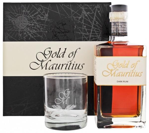 Gold of Mauritius Dark Rum Geschenkset inkl. Glas 0,7 Liter 40%