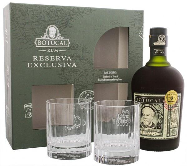 Botucal Reserva Exclusiva Rum + 2 Old Fashioned Gläser + 4 Untersetzer 0,7 Liter 40%