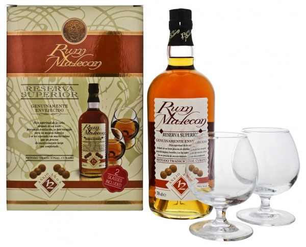 Malecon 12YO Reserva Superior Rum inkl. 2 Gläser 0,7 Liter 40%
