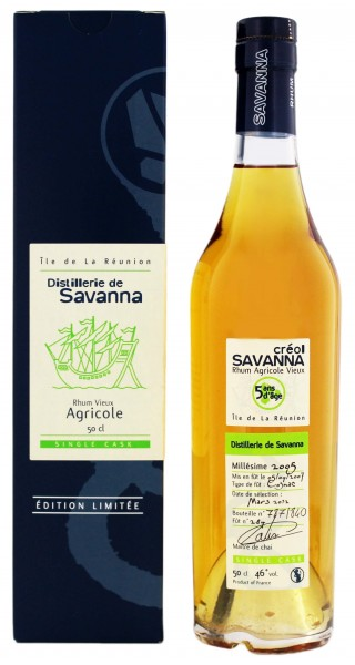 Savanna Créol 5YO Single Cask Agricole Rhum 0,5 Liter 46%
