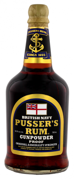 Pusser´s British Navy Black Label Gunpowder Proof 0,7 Liter 54,5%