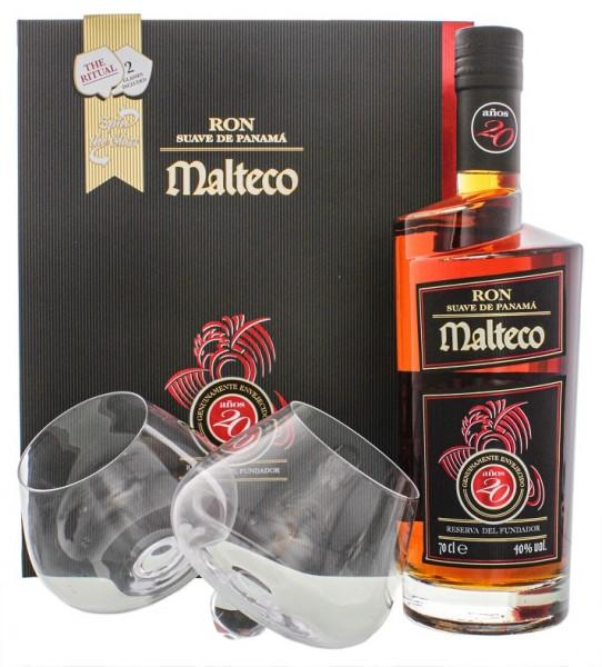 Malteco 20YO Rum 0,7 Liter 40% inkl. 2 Gläser