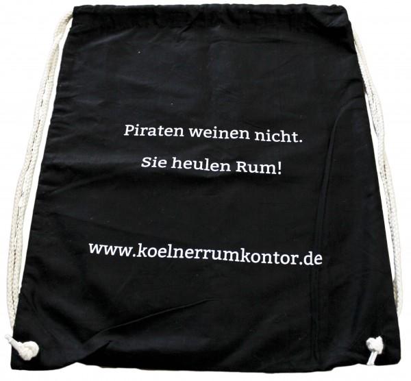 Baumwoll Gymsac (Sportsack) schwarz mit Aufdruck (37 x 45 cm)